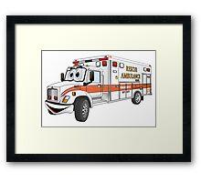 Cartoon Orange and White Ambulance Framed Print