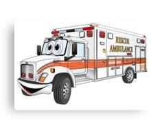 Cartoon Orange and White Ambulance Canvas Print