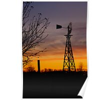 Windmill at Dusk Poster