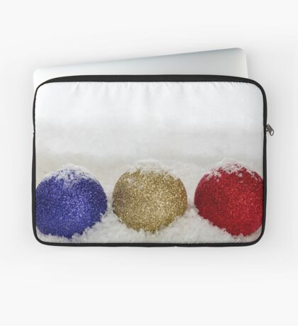 Christmas Baubles Sprinkled With Snow Laptop Sleeve