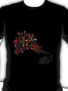Abstract swirl background with record player T-Shirt