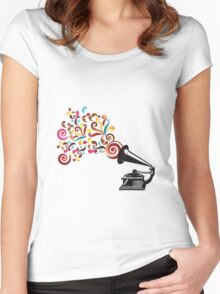 Abstract swirl background with record player Women's Fitted Scoop T-Shirt