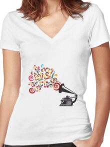 Abstract swirl background with record player Women's Fitted V-Neck T-Shirt