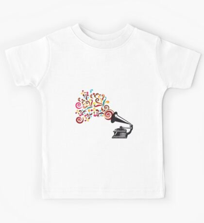 Abstract swirl background with record player Kids Tee