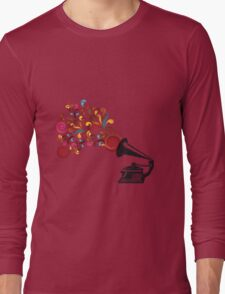 Abstract swirl background with record player Long Sleeve T-Shirt