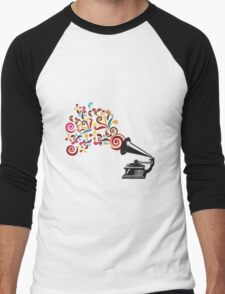 Abstract swirl background with record player Men's Baseball ¾ T-Shirt