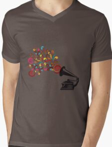 Abstract swirl background with record player Mens V-Neck T-Shirt