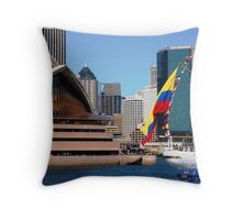 The Colombian national flag against a national icon Throw Pillow