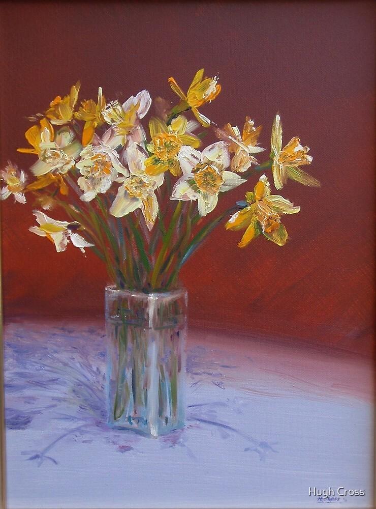 Joyful daffodils in oil by Hugh Cross