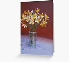 Joyful daffodils in oil Greeting Card