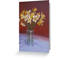 Joyful daffodils in oil Greeting Card