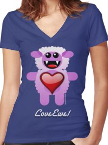 LOVE EWE! Women's Fitted V-Neck T-Shirt