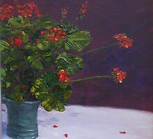 Mum's geraniums by Hugh Cross