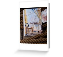 """Deckhouse of the Barque """"James Craig"""" in watercolour Greeting Card"""