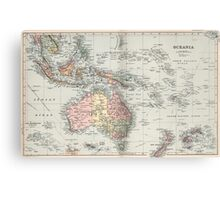 Vintage Map of Oceania (1892) Canvas Print