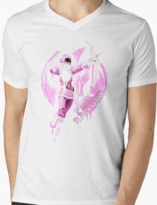 Pink Ranger Splatter Mens V-Neck T-Shirt
