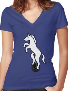 Unicorn on a Unicycle Women's Fitted V-Neck T-Shirt