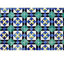 Blue and green patterned tiles, Lisbon Photographic Print