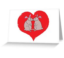 Rabbits in Love Heart Greeting Card