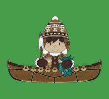 Cute Little Inuit Fisherman in Kayak One Piece - Short Sleeve