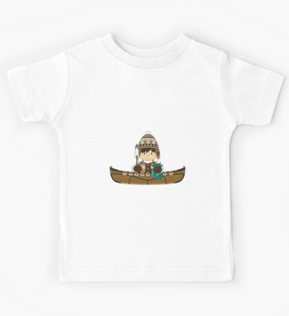 Cute Little Inuit Fisherman in Kayak Kids Tee