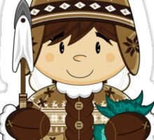 Cute Little Inuit Fisherman in Kayak Sticker