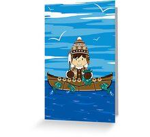 Cute Little Inuit Fisherman in Kayak Greeting Card