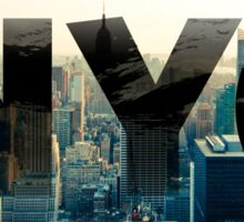 New York City - Sunset - Typo - NYC Sticker
