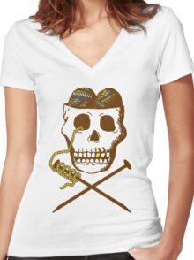 Knit For Brains Women's Fitted V-Neck T-Shirt