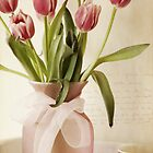 Pink Tulips with French Script by KatWarren
