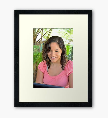 Attractive young brunette businesswoman Framed Print