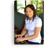 Attractive young brunette businesswoman Canvas Print