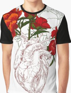drawing Human heart with flowers Graphic T-Shirt