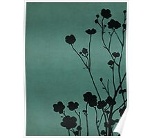 Buttercups in Blue & Gray Poster