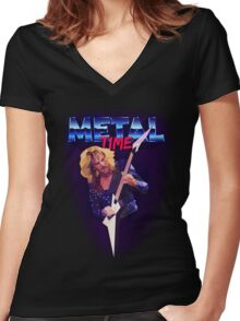Metal Time Women's Fitted V-Neck T-Shirt