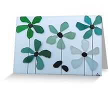 Sea glass and pebble flowers Greeting Card