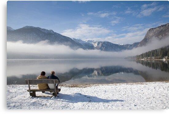 mist burning off Lake Bohinj by Ian Middleton