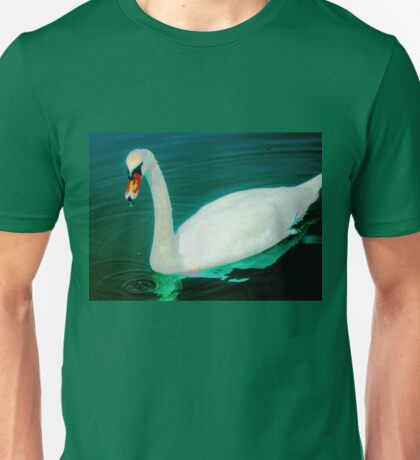 Swan on an aqua lake Unisex T-Shirt