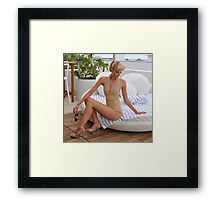 Model posing at the rooftop of Tides hotel for Norma Kamali Collection Framed Print