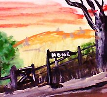 Rural roadhome,watercolor by Anna  Lewis