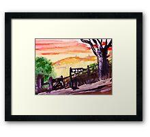 Rural roadhome,watercolor Framed Print