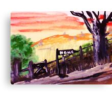 Rural roadhome,watercolor Canvas Print