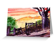 Rural roadhome,watercolor Greeting Card