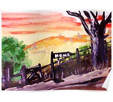Rural roadhome,watercolor Poster