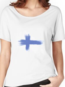 Finland Flag brush style Women's Relaxed Fit T-Shirt