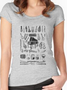 Vintage Classical Music Instruments Dictionary Art Women's Fitted Scoop T-Shirt