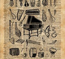 Vintage Classical Music Instruments Dictionary Art by DictionaryArt