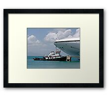 Large Cruise Ship and Little Tug Boat Framed Print