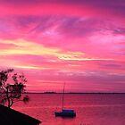 Pink spring sunrise at Lake Macquarie by Hugh Cross