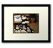 Five Charming Tuxedo Stuffed Cats For Sale! Framed Print